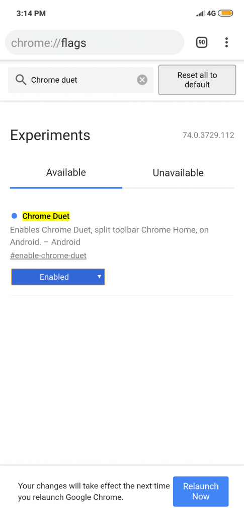 Chrome setting for Duet