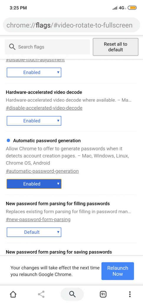 Chrome setting for automatic password generation