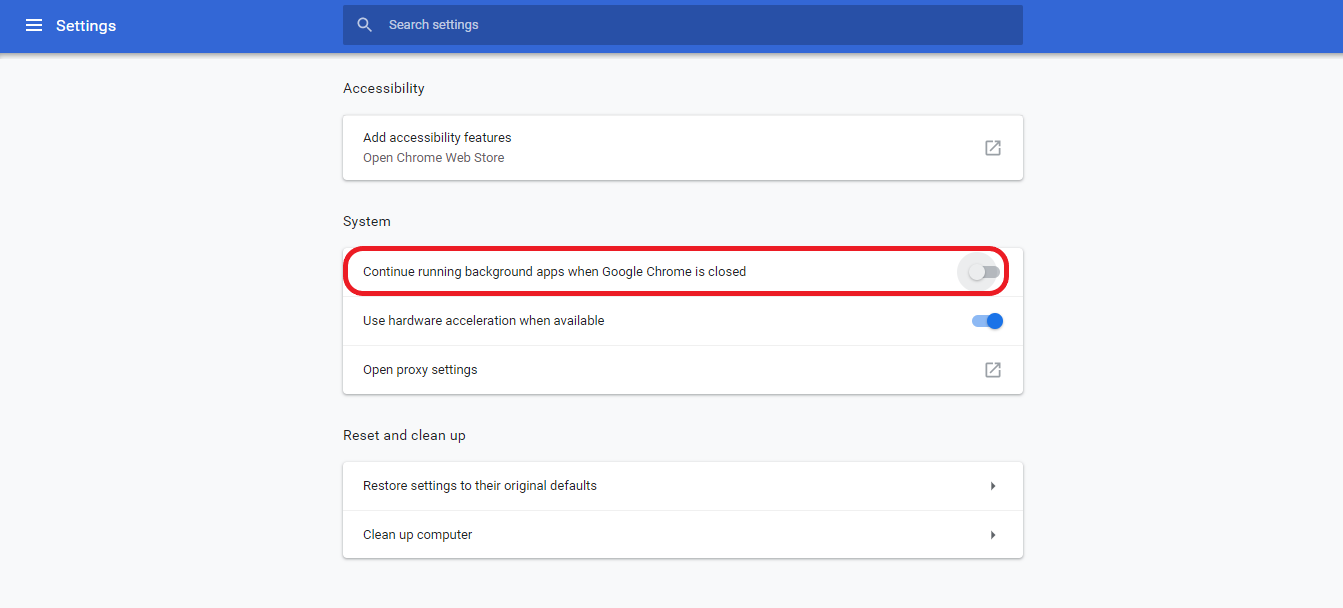Chrome setting for disable background apps