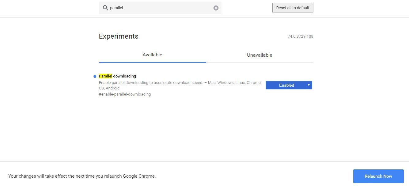 Chrome settings for parallel downloads